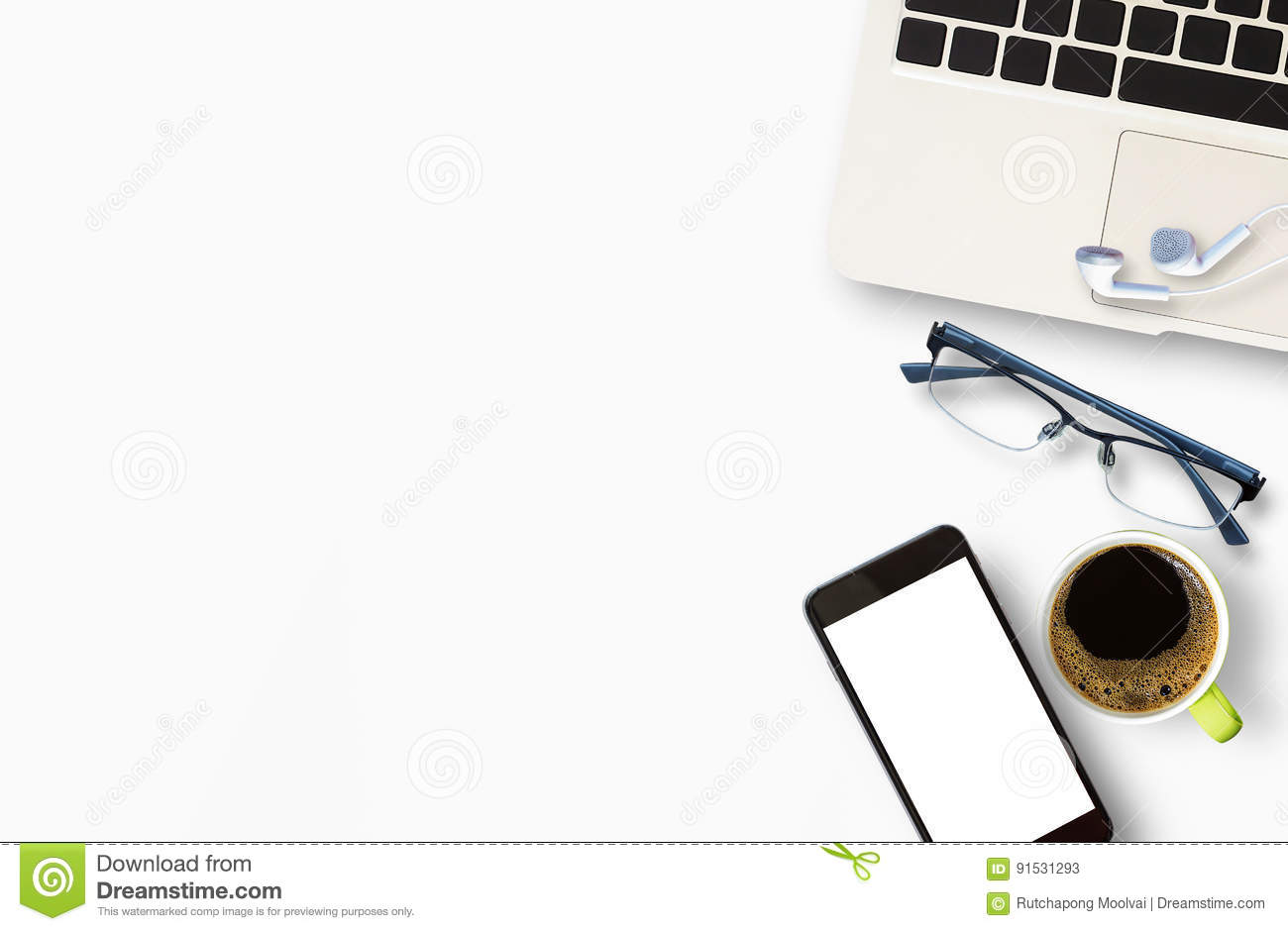 Modern White Office Desk Table With Laptop Computer Stock Photo ...