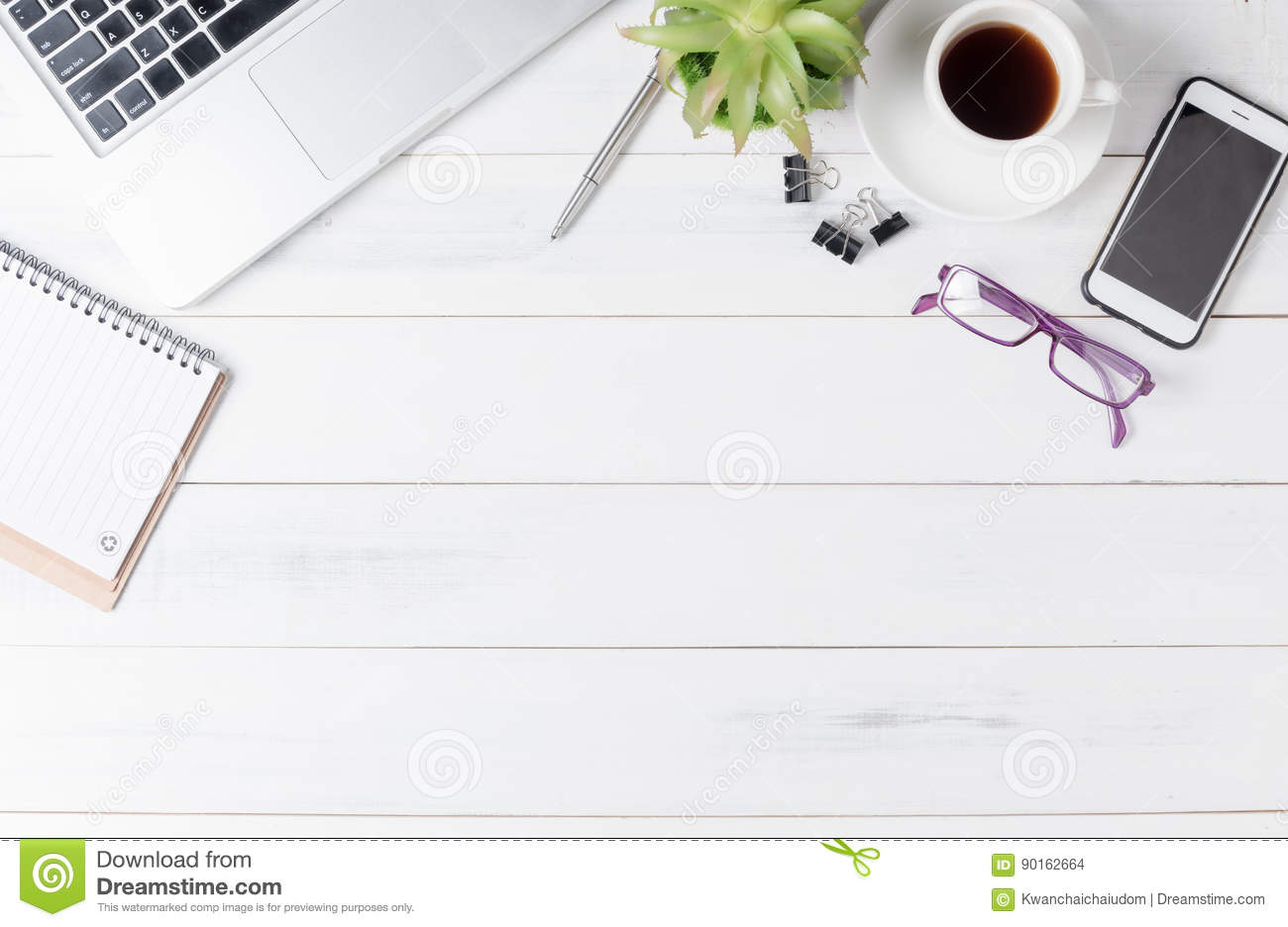 Modern White Office Desk Table With Laptop Stock Photo - Image ...