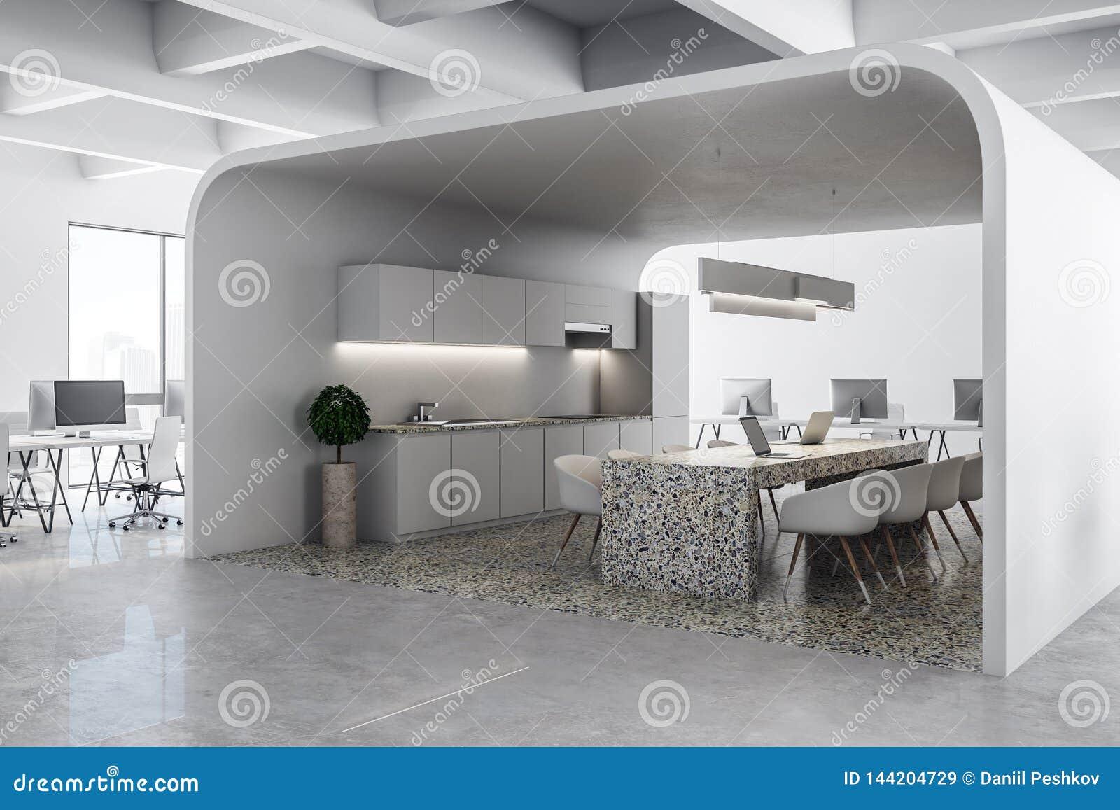 Modern White Office Kitchen Stock Illustration Illustration Of Chairs Indoor 144204729