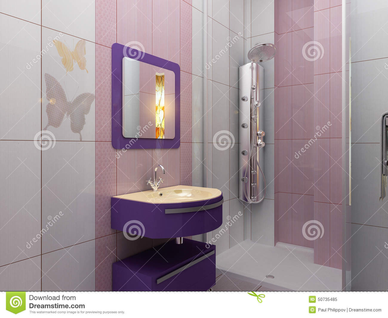 Modern white and pink bathroom with shower stock photo image 50735485 - Bagno lilla e bianco ...
