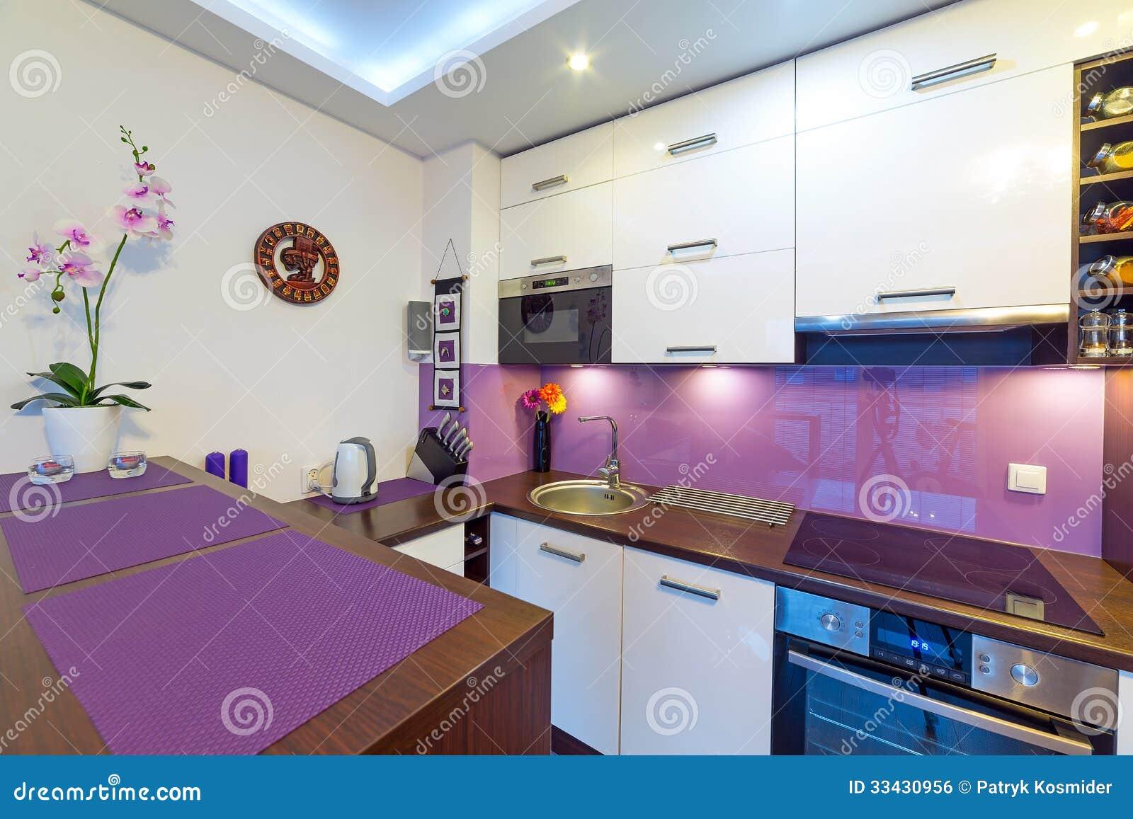 modern purple kitchen interior royalty free stock photo - image