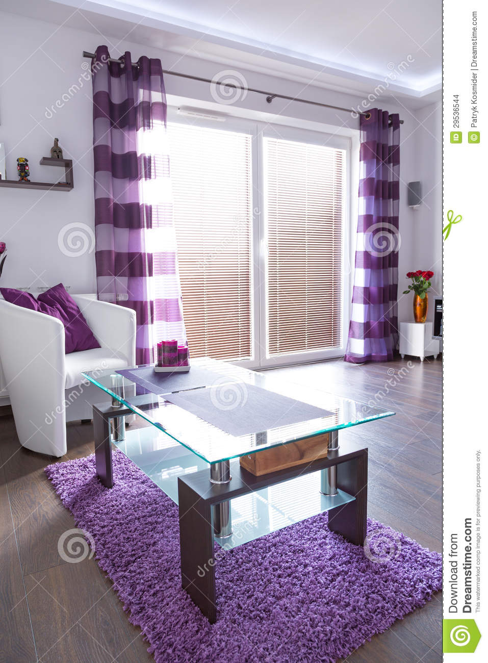 modern white and purple living room interior stock images - image
