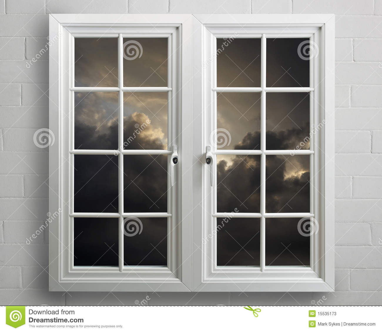 Modern white pvc window with view of stormy sky stock for Modern windows