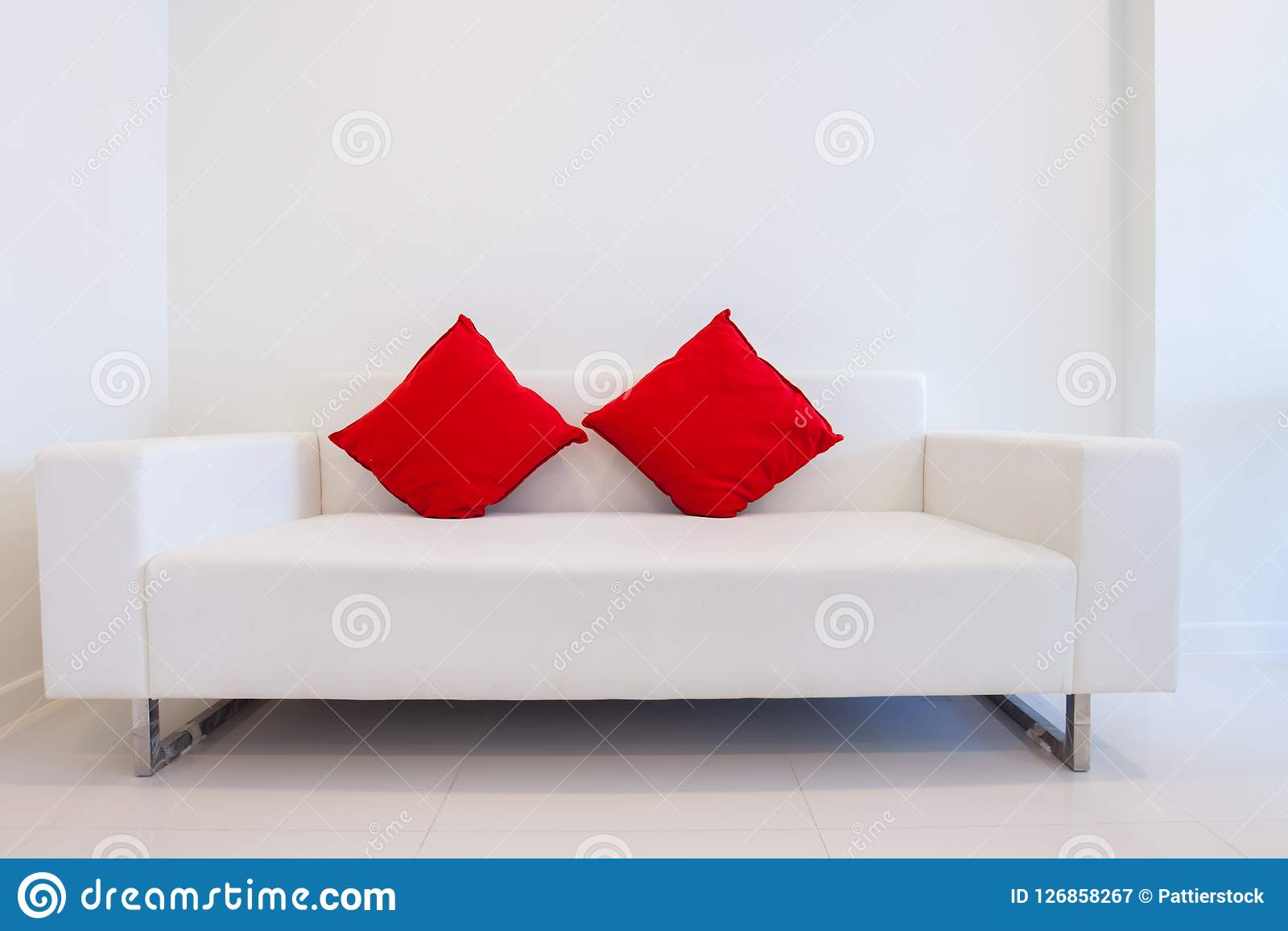 Modern White Sofa With Red Pillows Stock Image Image Of Decorative Elegant 126858267