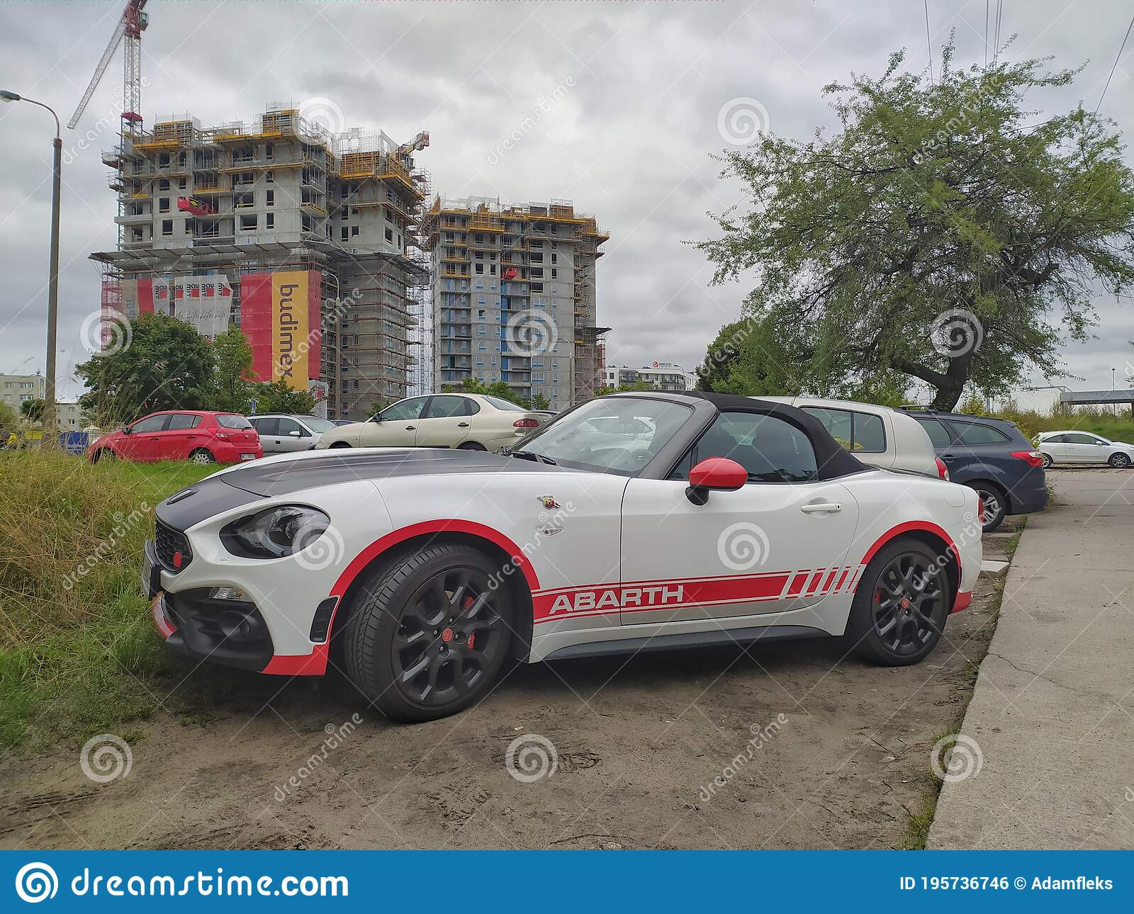 White Sport Car Fiat 124 Spider Abarth Coupe Parked Editorial Photo Image Of Elegant Lifestyle 195736746
