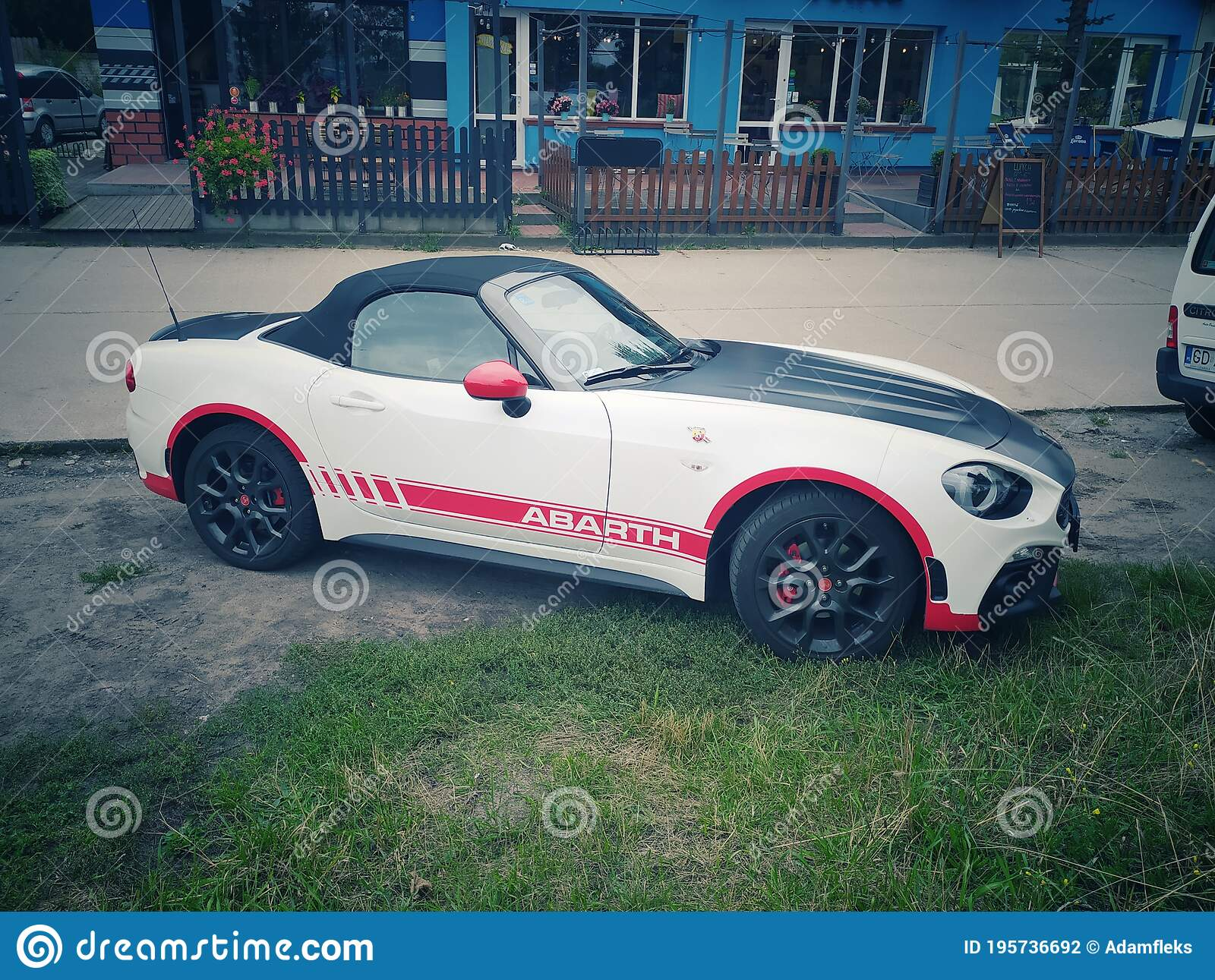 White Sport Car Fiat 124 Spider Abarth Coupe Parked Editorial Photography Image Of Hood Doors 195736692