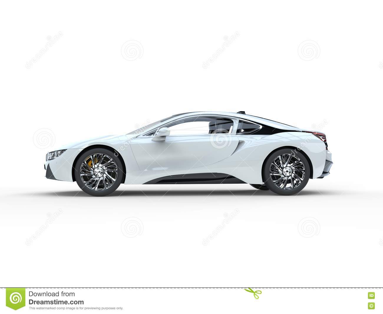 modern white sports car side view stock illustration
