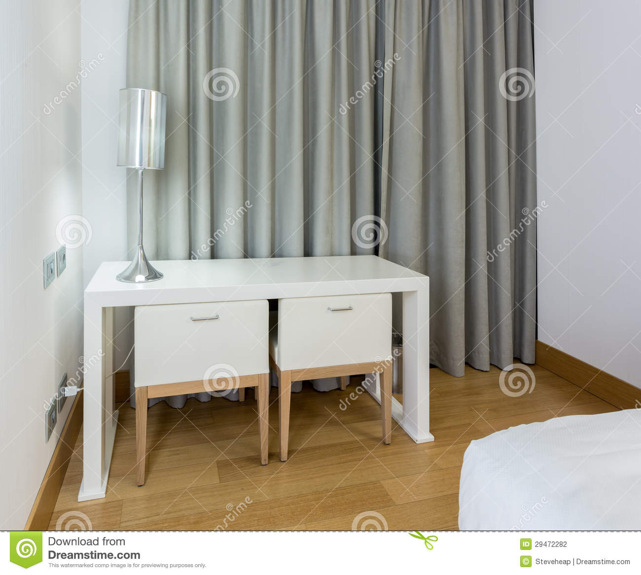 Modern white table and chairs in bedroom stock photography for Bedroom table chairs