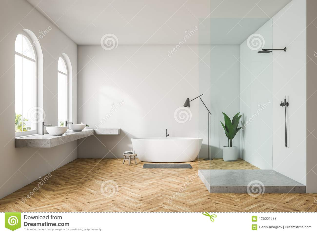 Arched Windows White Bathroom Interior Stock Illustration ...
