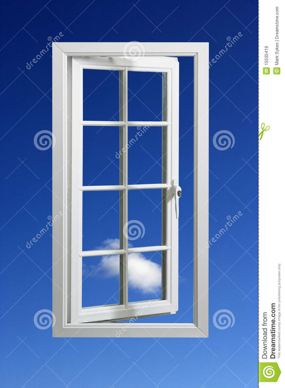 Modern White Window Frame In Blue Sky Royalty Free Stock