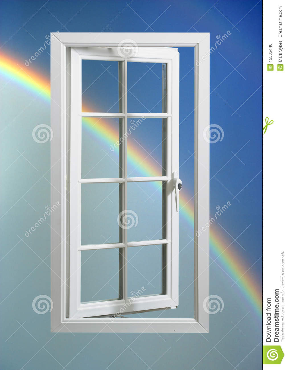 Modern white window frame in blue sky with rainbow stock for Pvc window frame