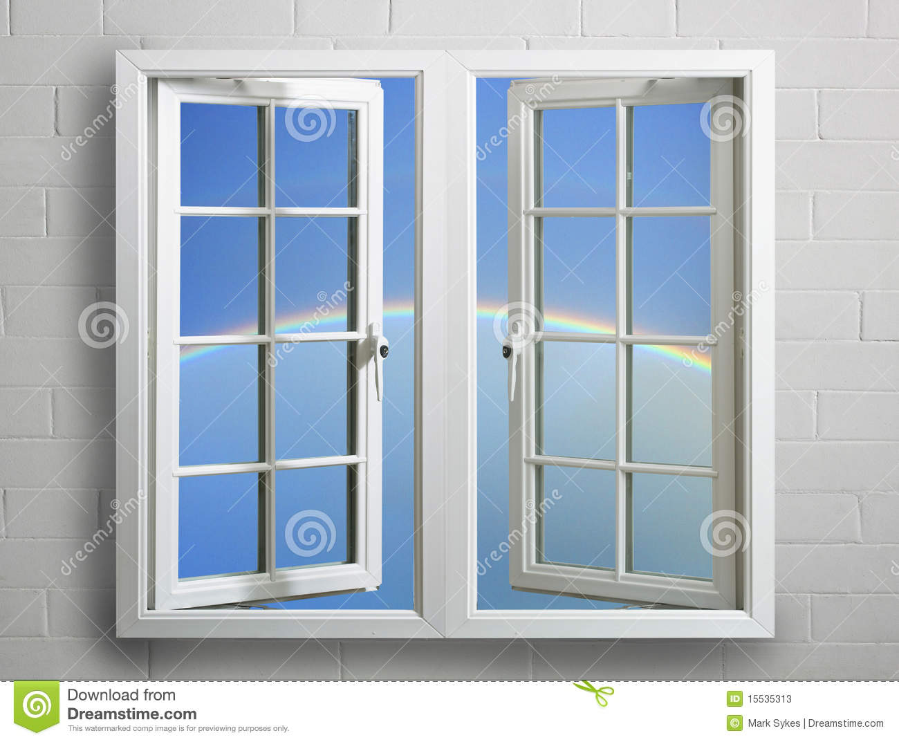 White window frame - Blue Frame Modern Open Plastic Pvc Rainbow Sky View White Window