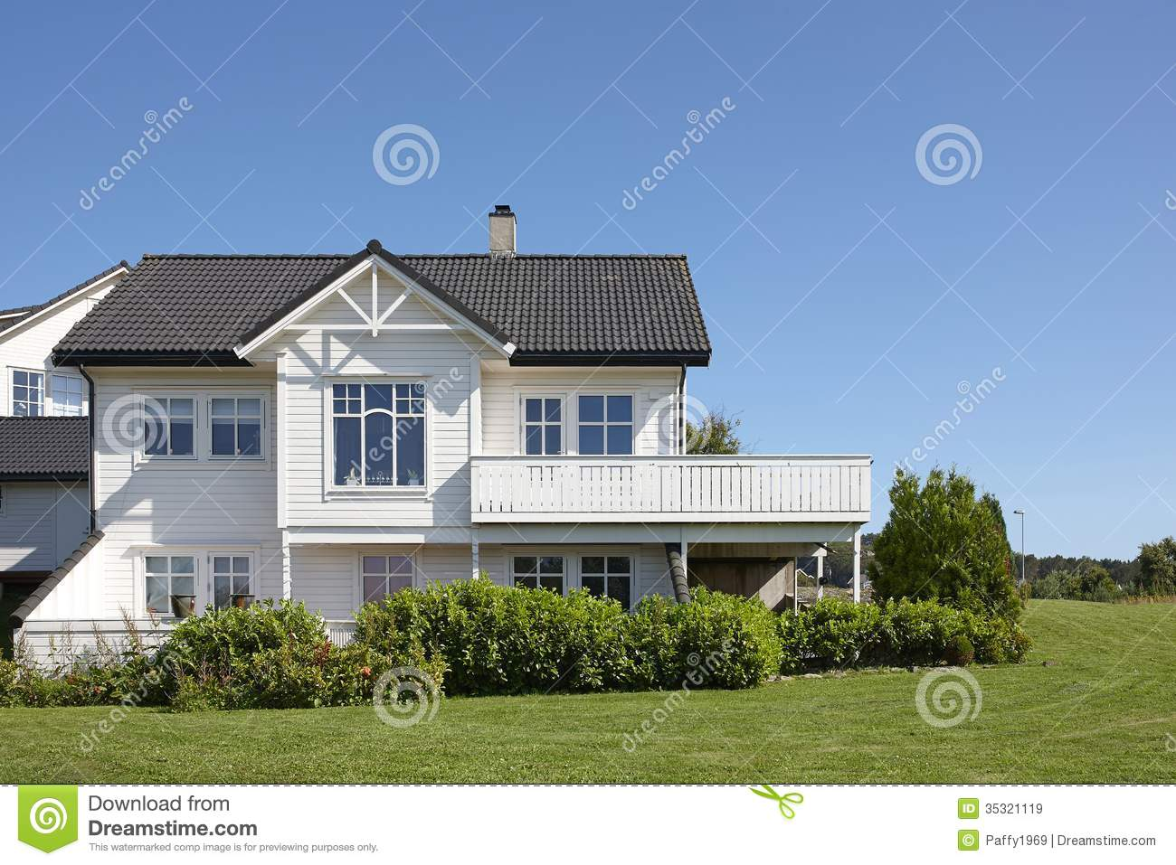 Modern white wooden house in norway stock image image of for Modern day houses