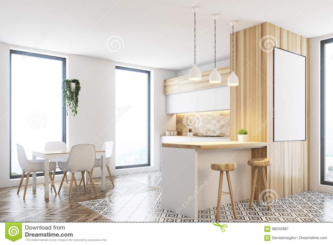 Terrific Modern White And Wooden Kitchen Poster Stock Illustration Pabps2019 Chair Design Images Pabps2019Com