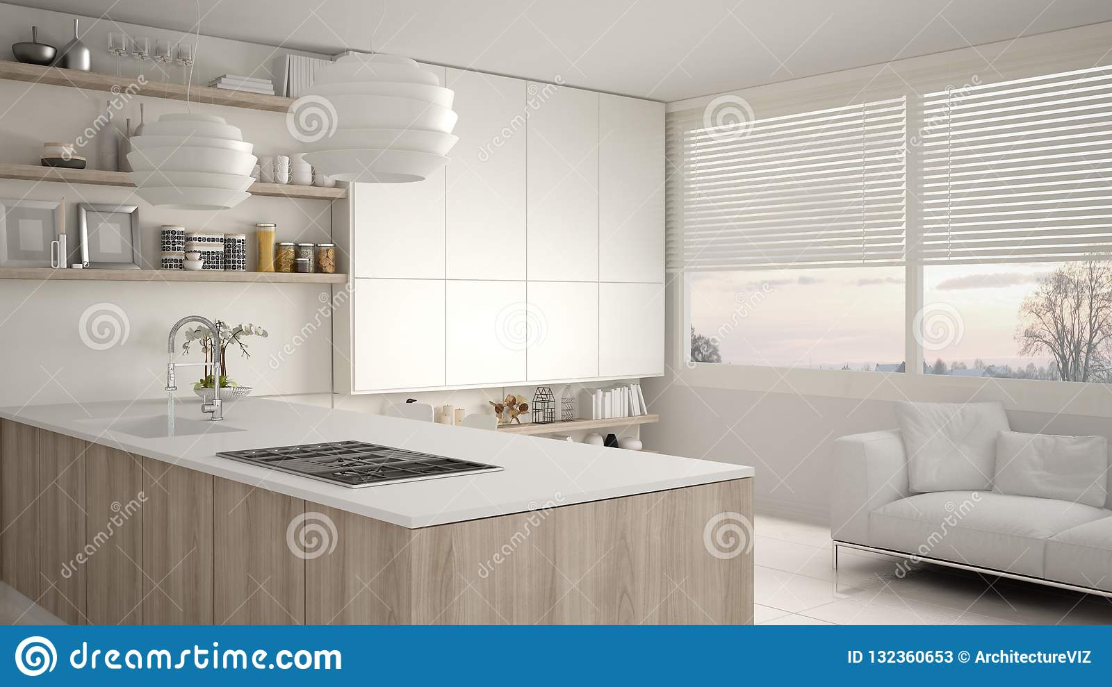 Modern White And Wooden Kitchen With Shelves And Cabinets ...