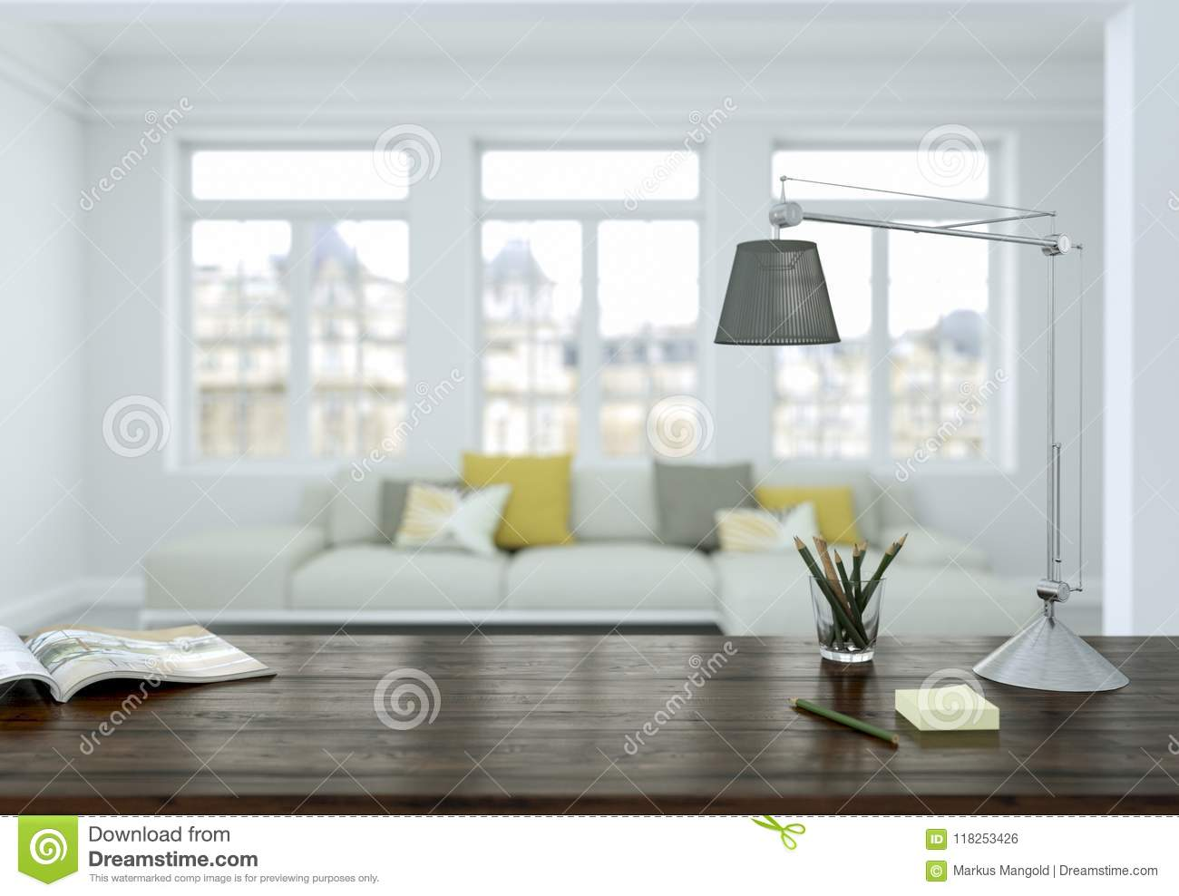 Modern White Yellow Home Office With Sofa Interior Design 3d ...
