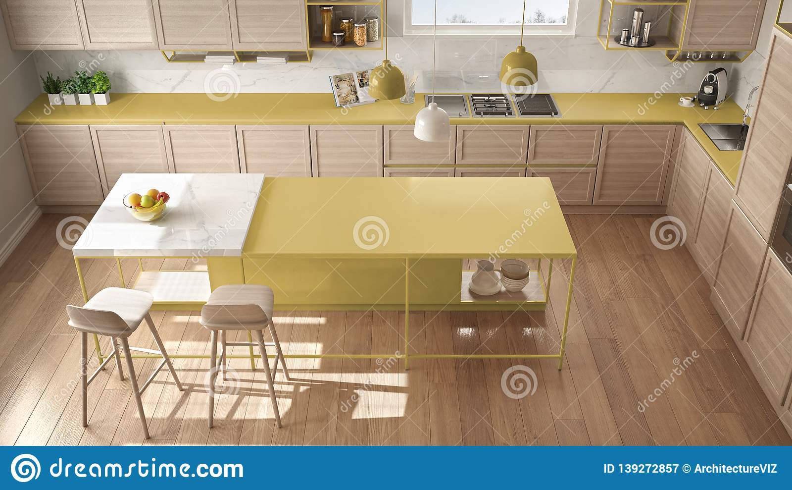 Modern White And Yellow Kitchen With Wooden Details And Parquet ...