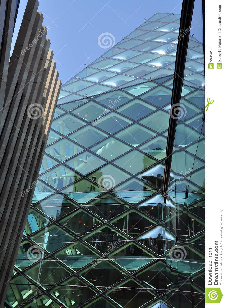 Modern window design and curved glass panels stock photo for Glass panel design