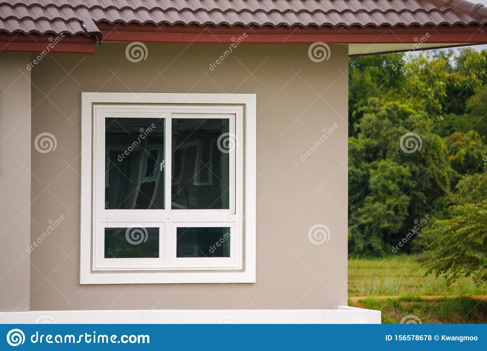Modern Window Frame Outside The House Stock Photo Image Of Facade Close 156578678