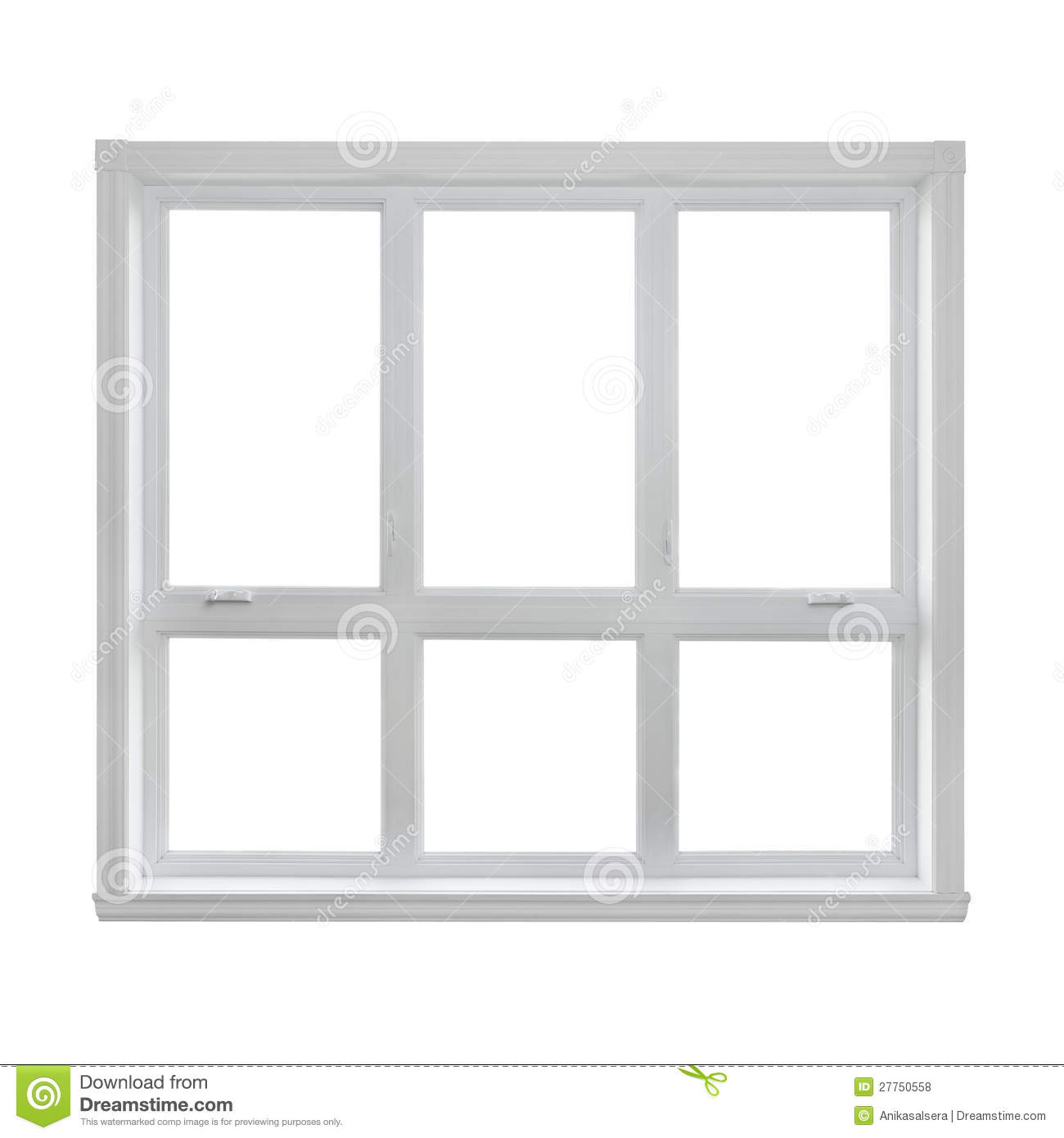 Modern Window Isolated On White Background Stock Photo