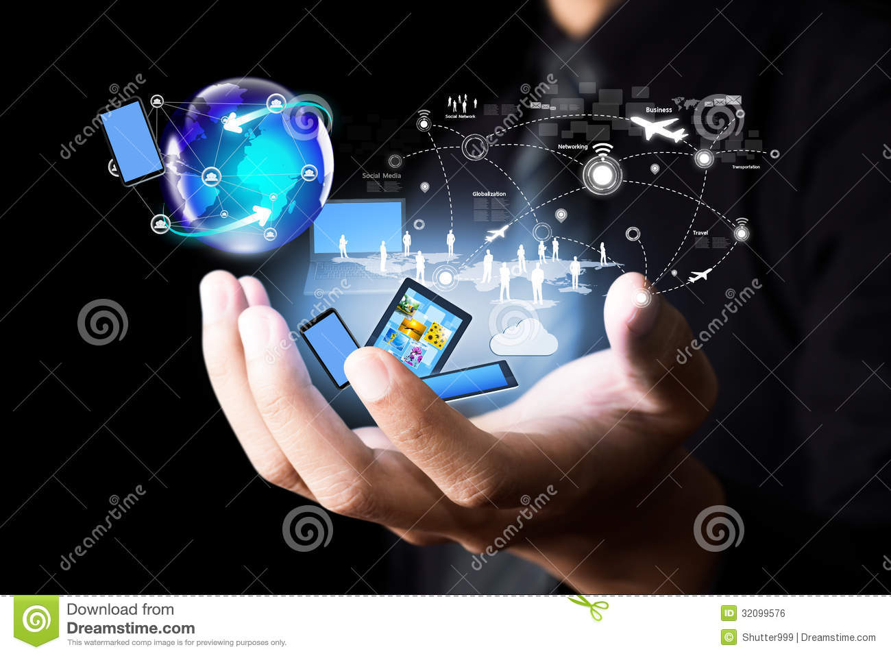 Download Modern Wireless Technology And Social Network Stock Photo - Image of group, button: 32099576
