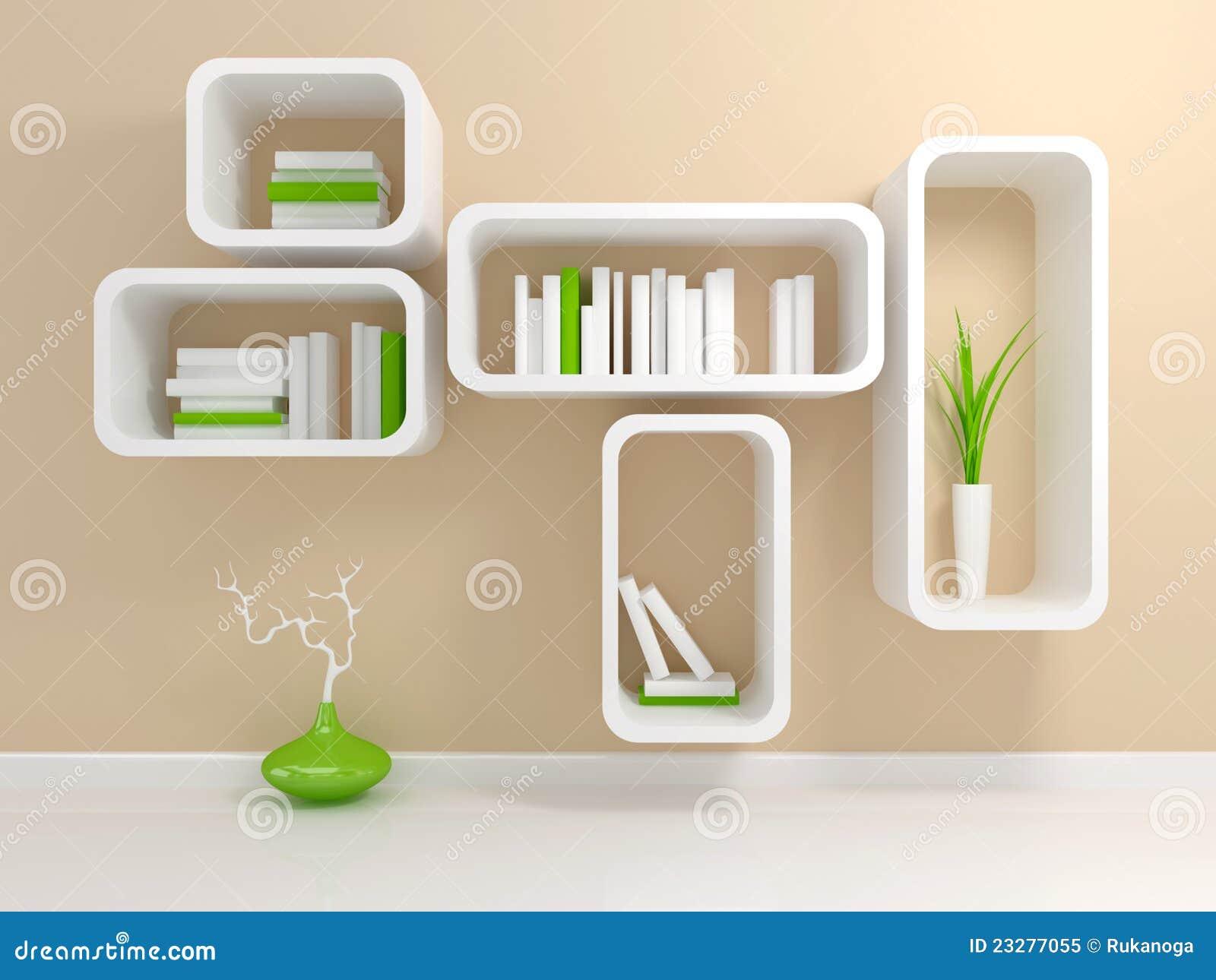 Boekenrek Tegen Muur.Modern Wit Boekenrek Stock Illustratie Illustratie Bestaande Uit