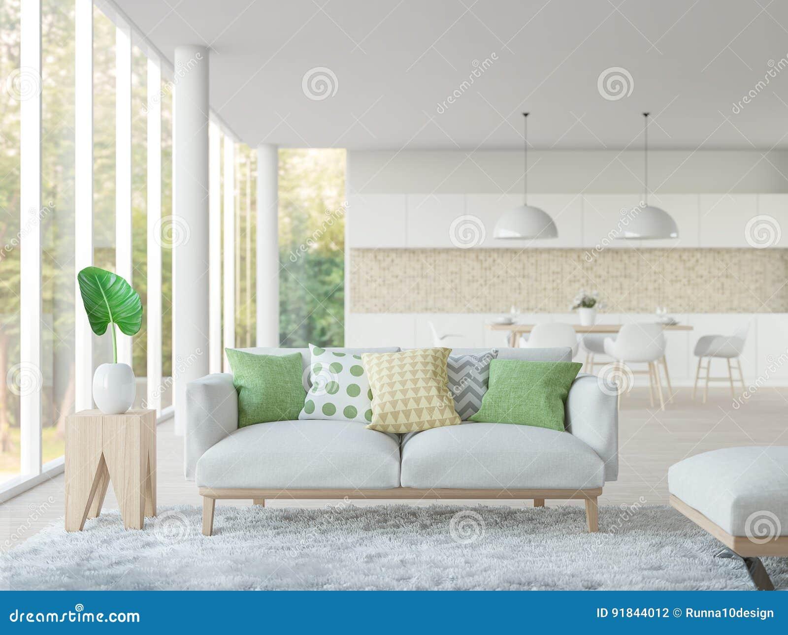 Eetkamer In Woonkamer : Modern wit woonkamer en eetkamer d teruggevend beeld stock