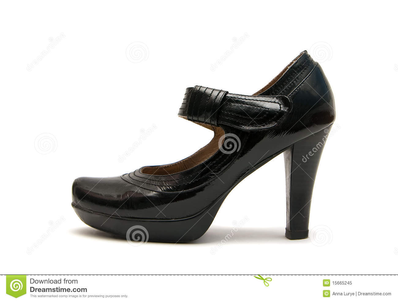 Original Modern Women39s Leather Shoes Over White Royalty Free Stock Image