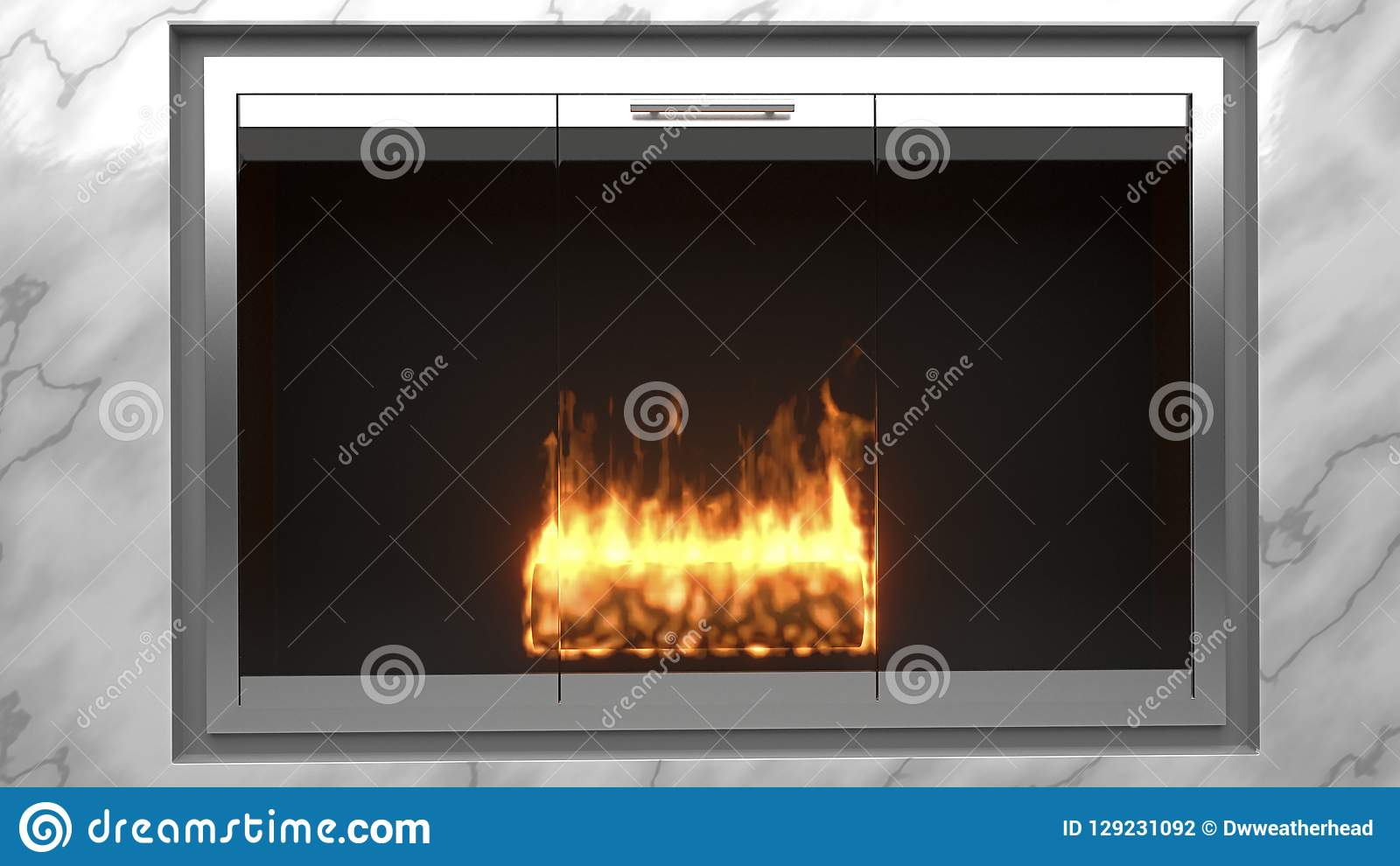 Modern fireplace made of marble with flames