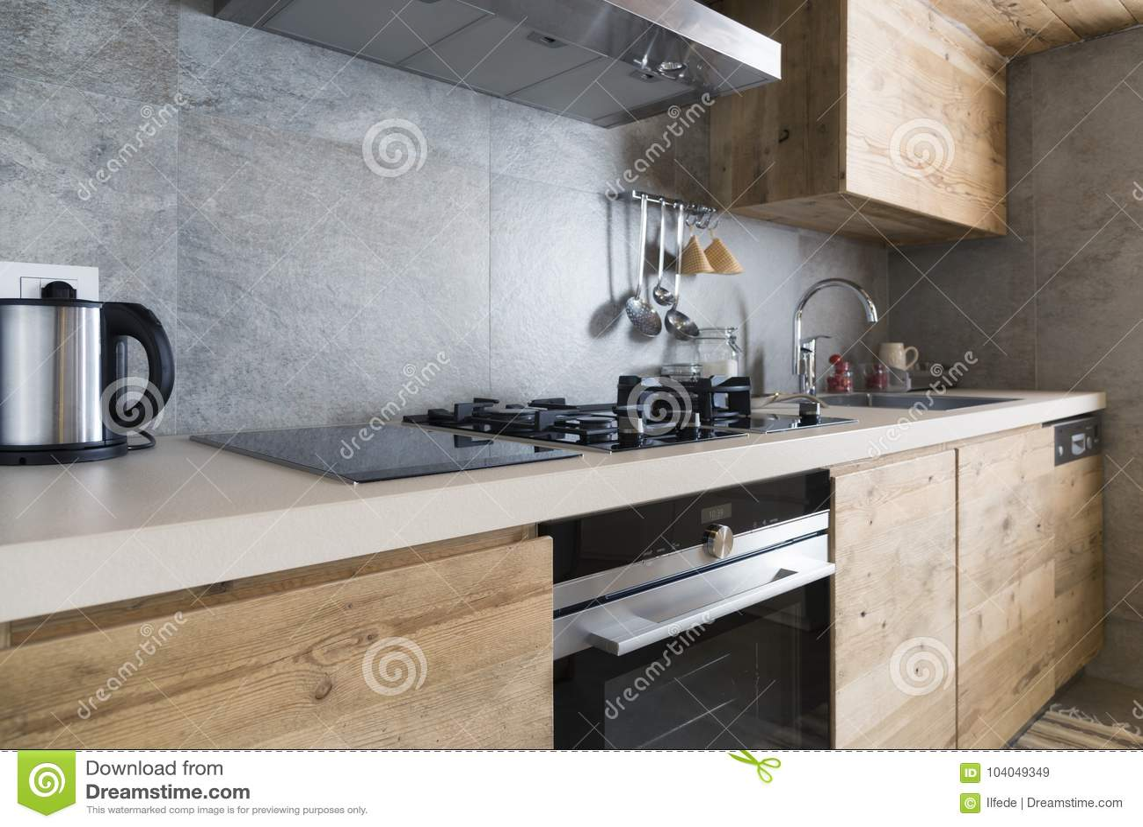 Modern Wood Kitchen Counter Stock Image Image Of Kitchen