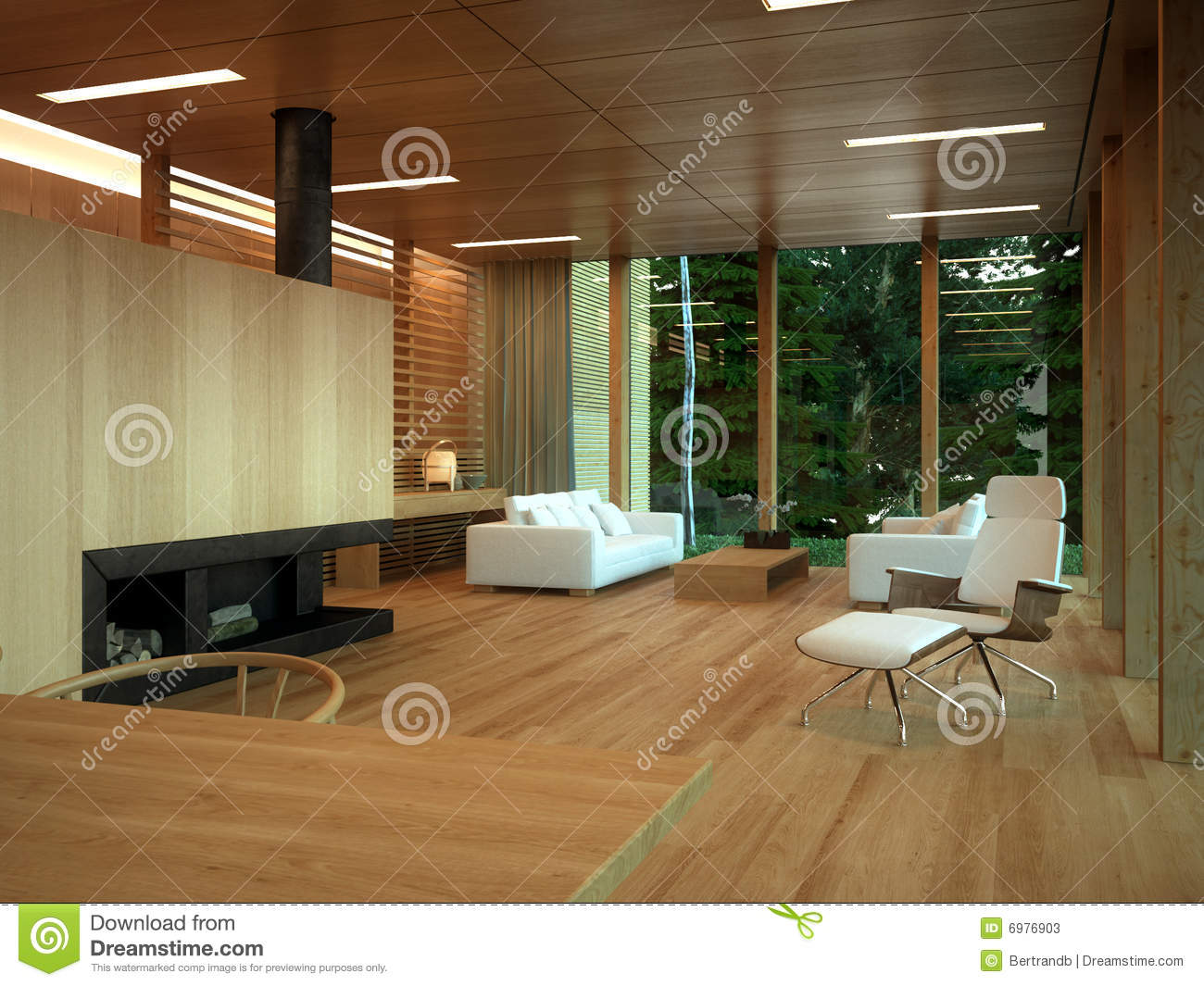 Modern Wood Living Room Interior Stock Illustration