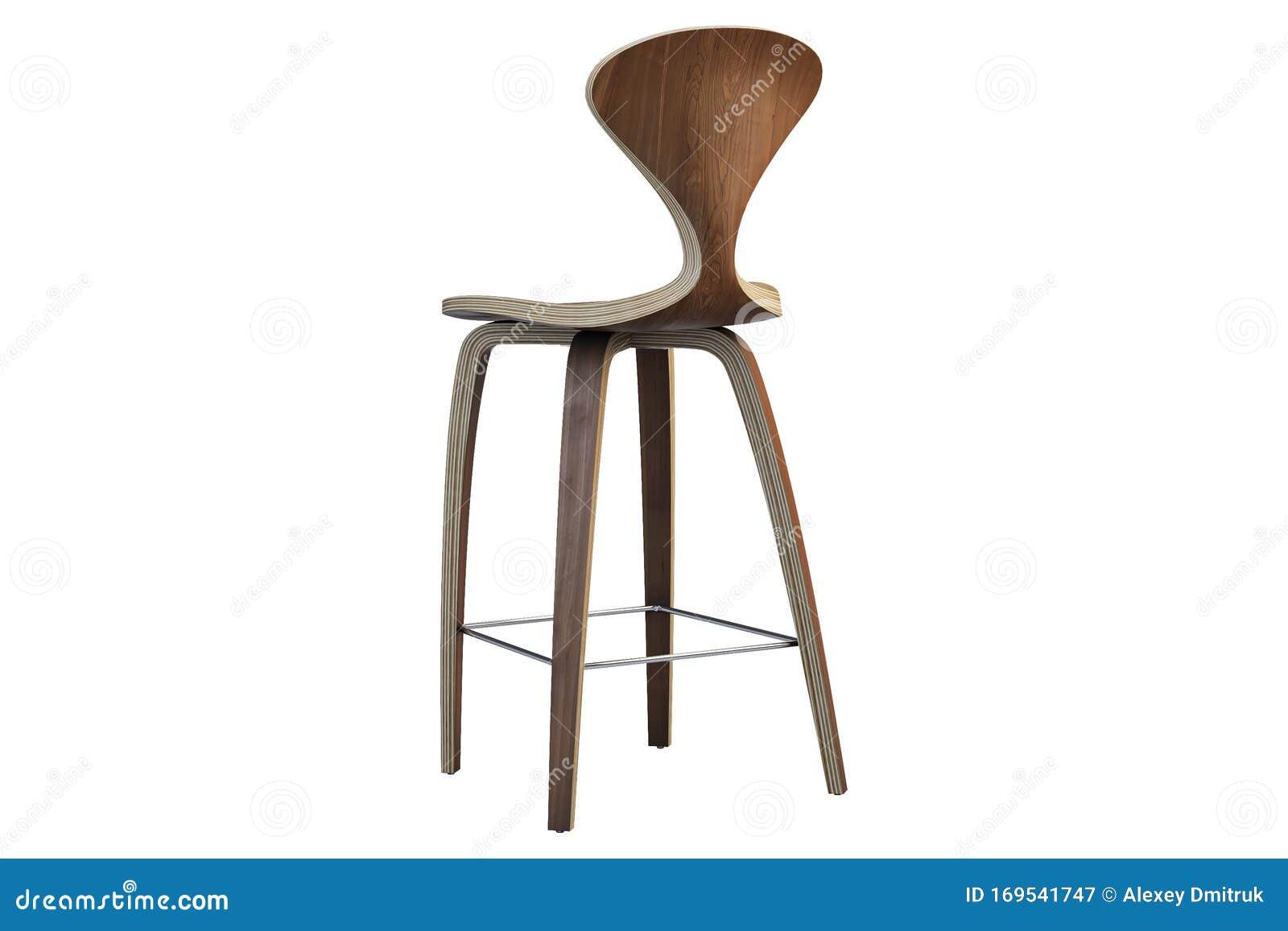 Image of: Modern Bar Stool On Wooden Legs 3d Render Stock Illustration Illustration Of Design Plywood 169541747