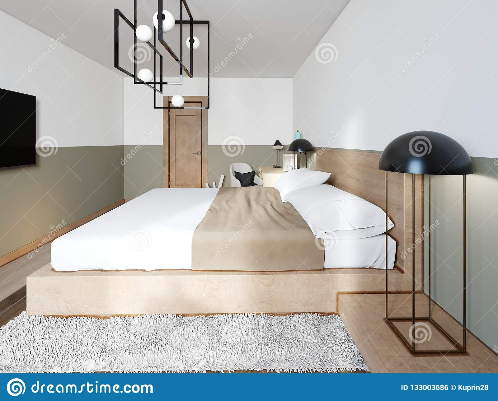 A Modern Wooden Bed On A Two Stage Wooden Catwalk With Lighting A Bedroom In A Loft Style Stock Illustration Illustration Of Hipster Furniture 133003686