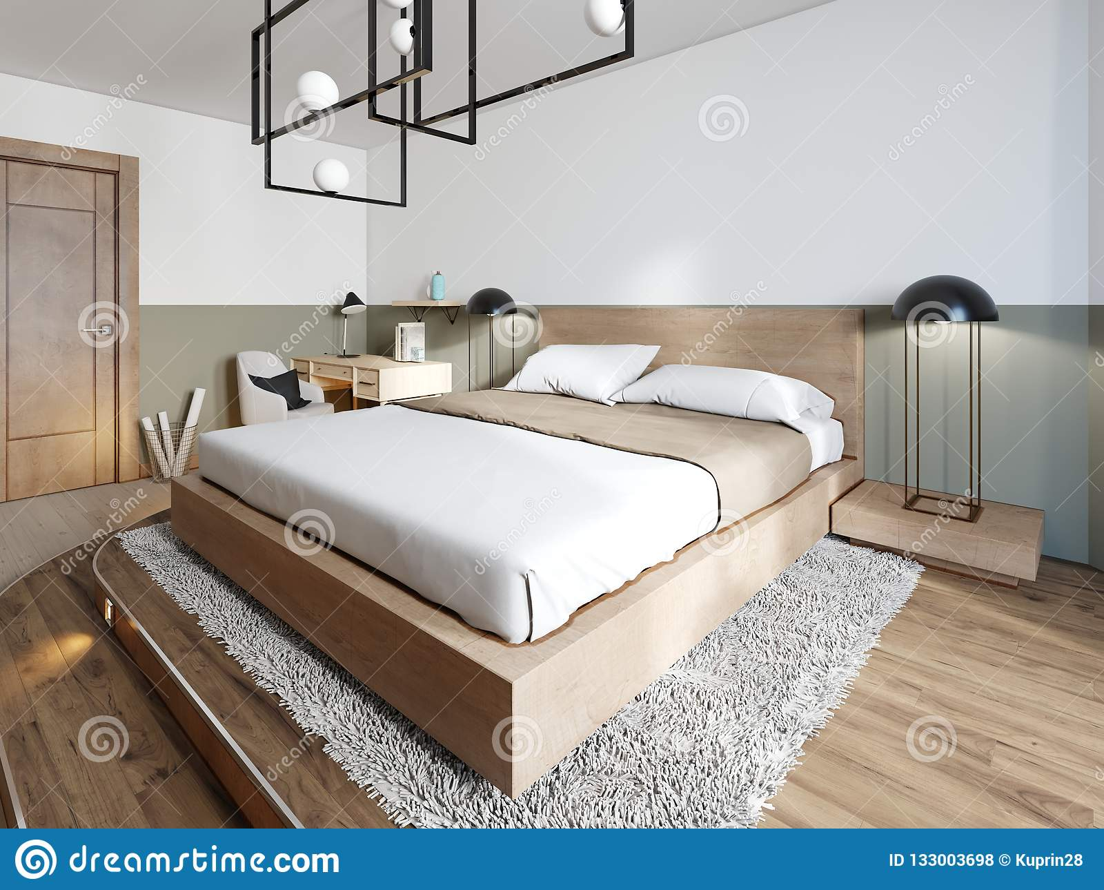 A Modern Wooden Bed On A Two Stage Wooden Catwalk With Lighting A Bedroom In A Loft Style Stock Illustration Illustration Of Design Furnishing 133003698