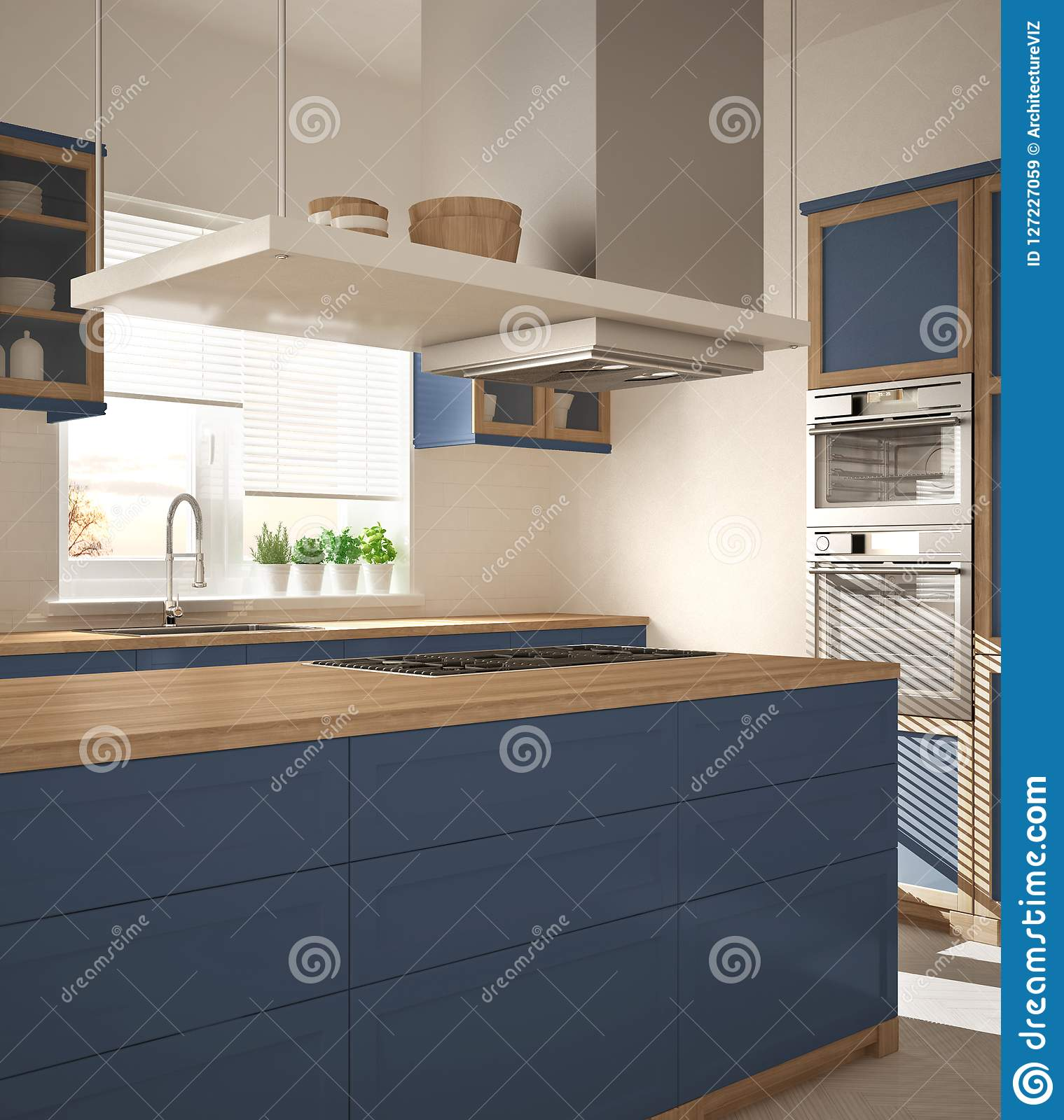 Modern wooden and blue kitchen with island gas stove and sink parquet herringbone floor