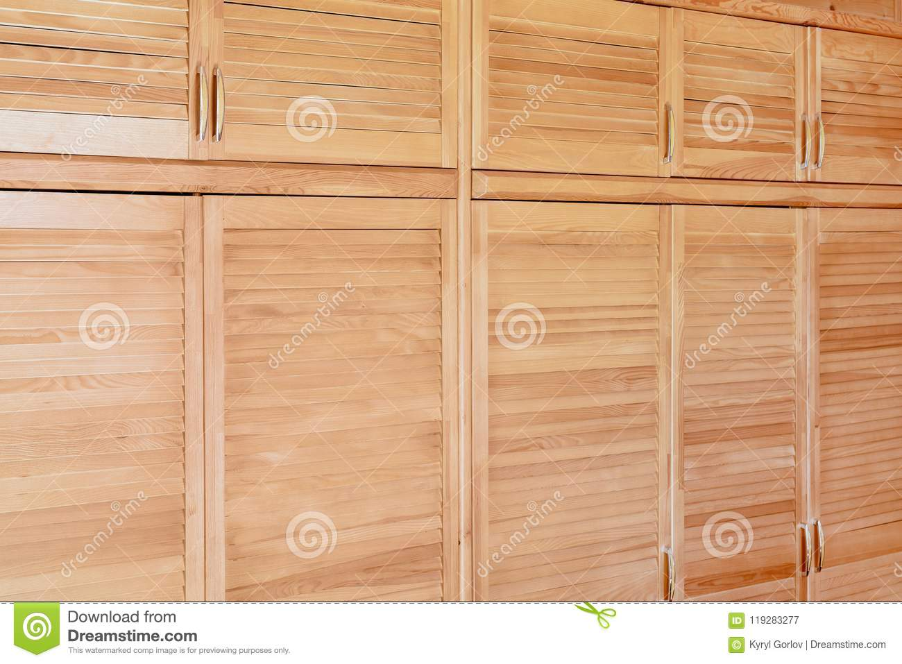 Download Modern Wooden Cabinet In Classic Rustic Style. Details Of Wardrobe Case With Shutter Plank