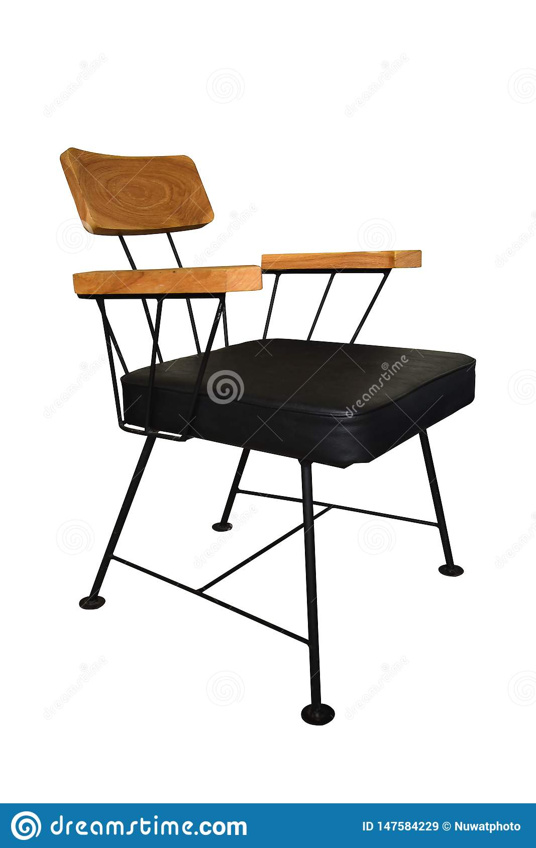 Amazing Modern Wooden Chair Steel Legs Isolated Stock Image Image Squirreltailoven Fun Painted Chair Ideas Images Squirreltailovenorg