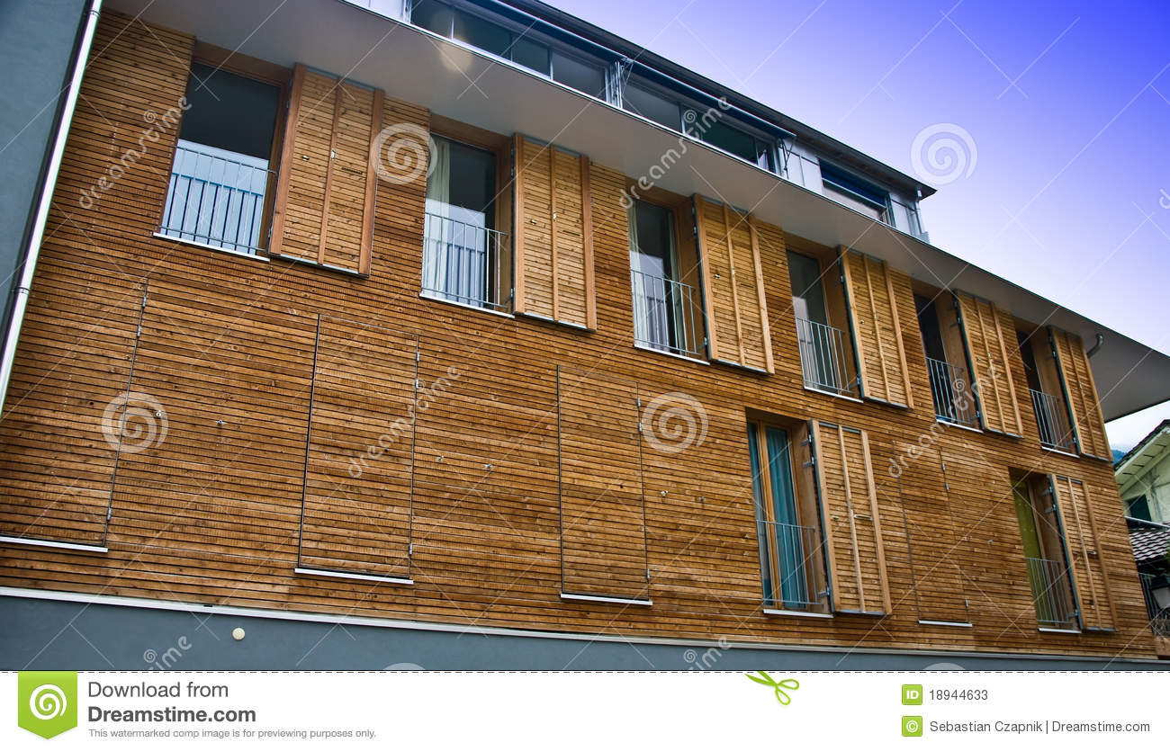 modern wooden house facade stock image image of shutters. Black Bedroom Furniture Sets. Home Design Ideas