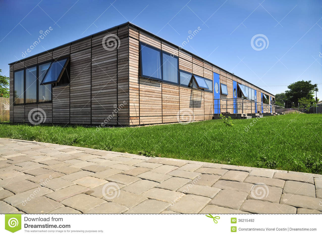 Modern wooden house facade stock photography image 36215492 for Modern wood house