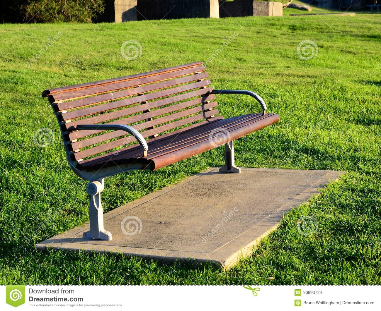 Incredible Modern Wooden Park Bench Stock Photo Image Of Early 90993724 Creativecarmelina Interior Chair Design Creativecarmelinacom