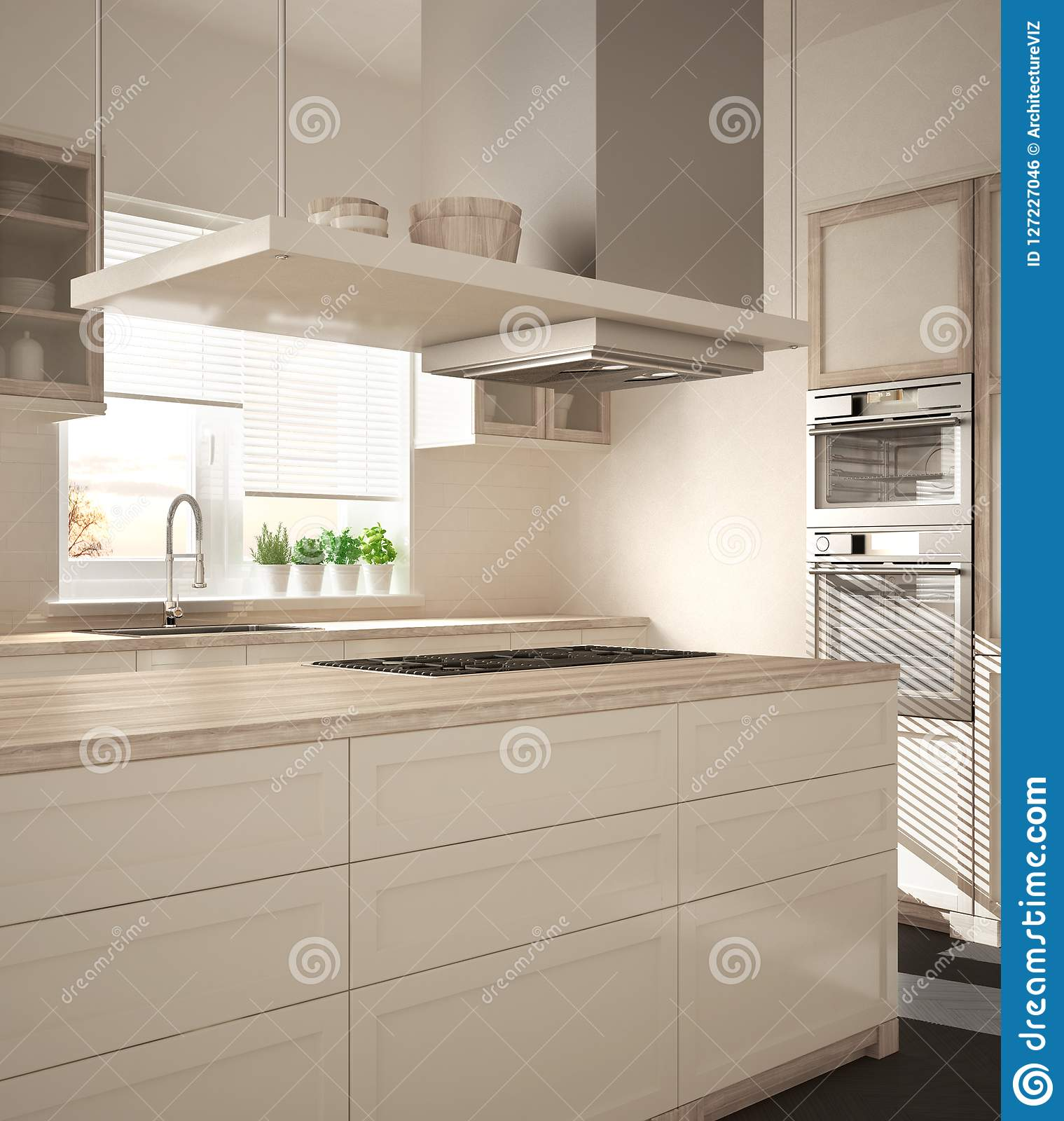 Modern Wooden And White Kitchen With Island Gas Stove And