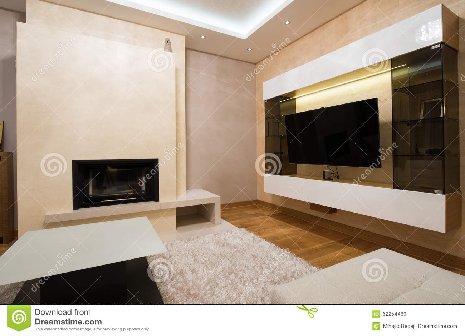 Modern woonkamerbinnenland met open haard stock foto   afbeelding ...