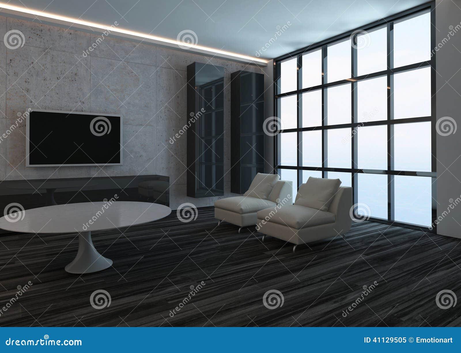 Modern woonkamerbinnenland met venster en zwarte houten vloer