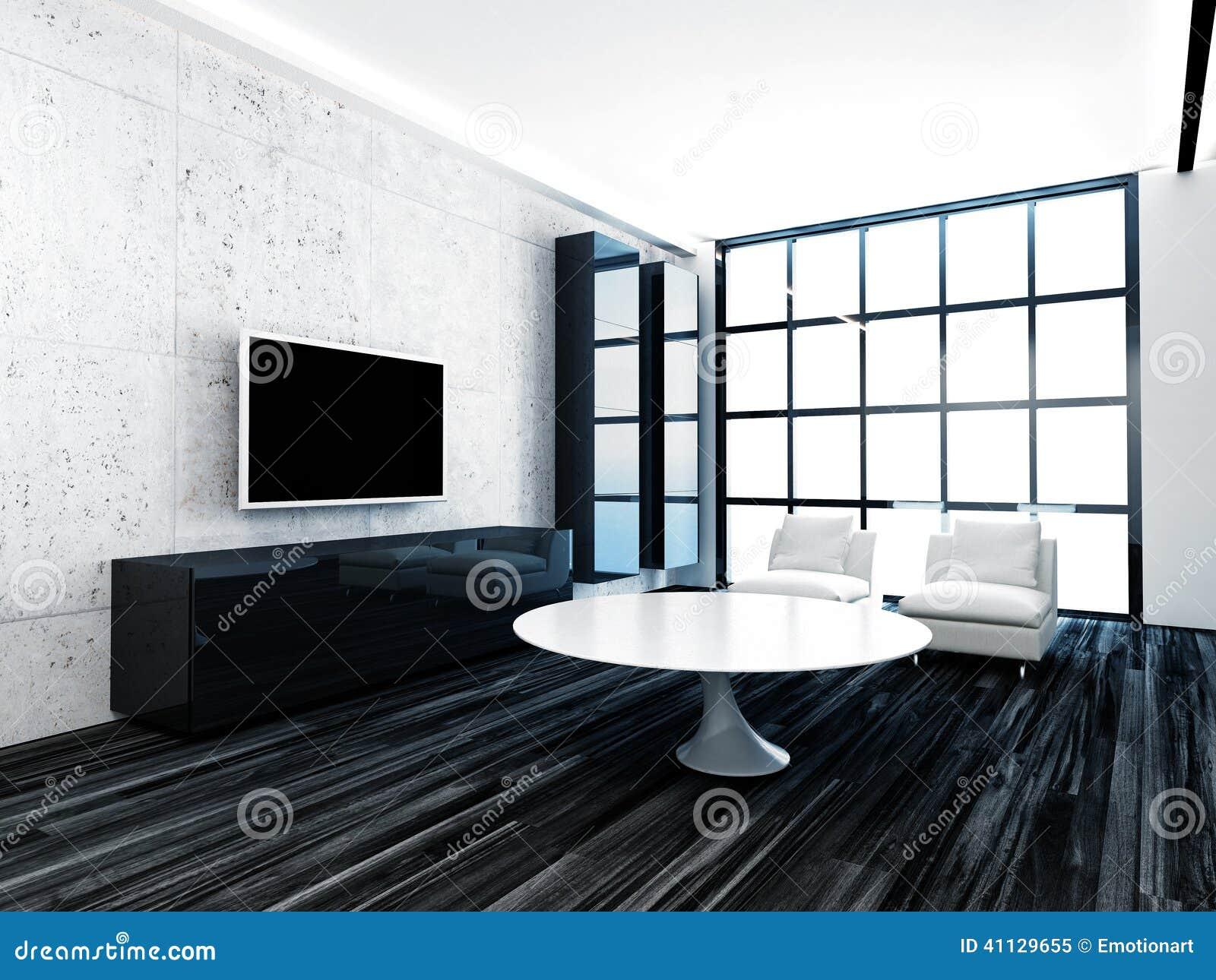Woonkamer met zwarte vloer: appartement met veel licht ...