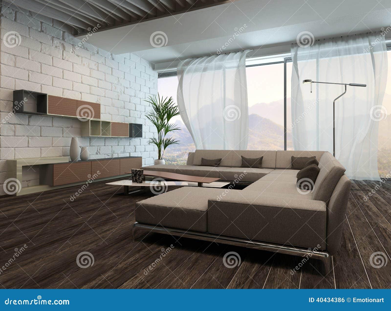 Modern woonkamerbinnenland met witte gordijnen stock illustratie