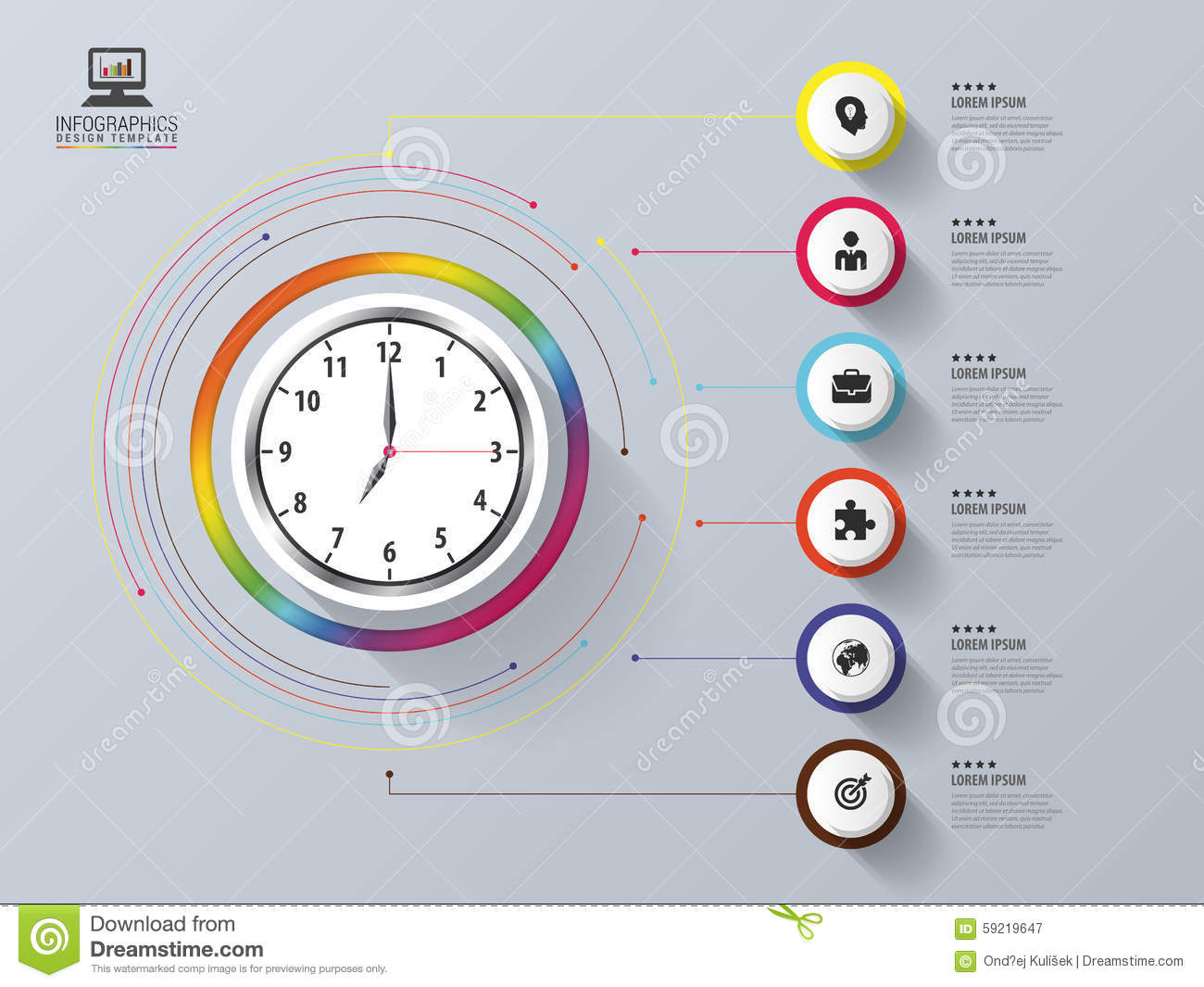 modern work time management planning infographic design template