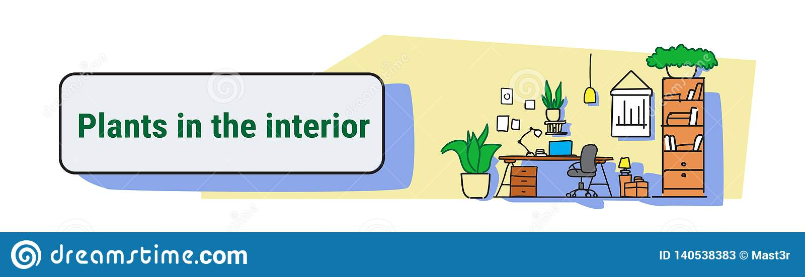 Modern workplace cabinet room office workspace interior design with plants on wall empty no people colorful sketch flow style horizontal banner vector