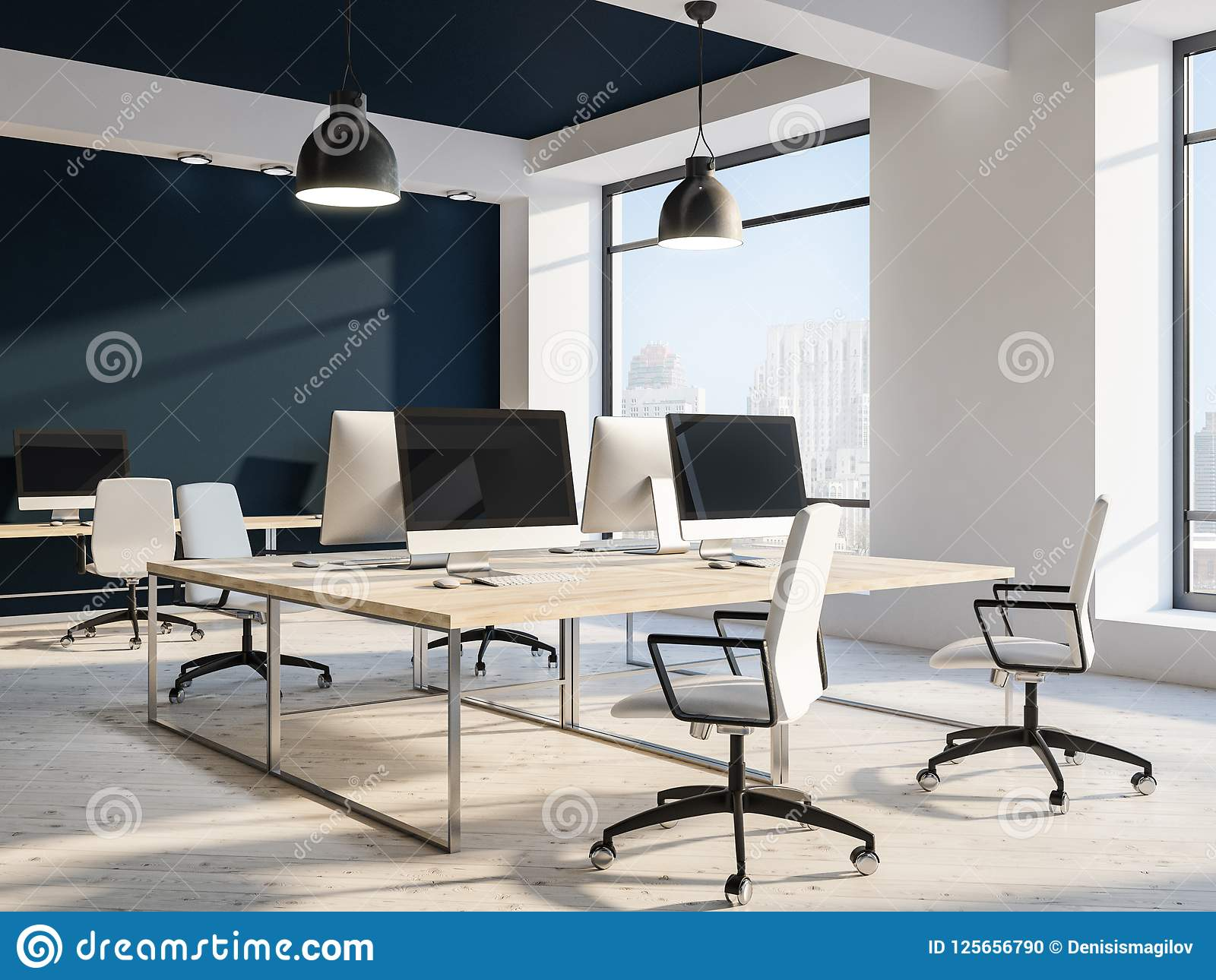 Modern Workplace Or Computer Lab, Black Ceiling Stock ...