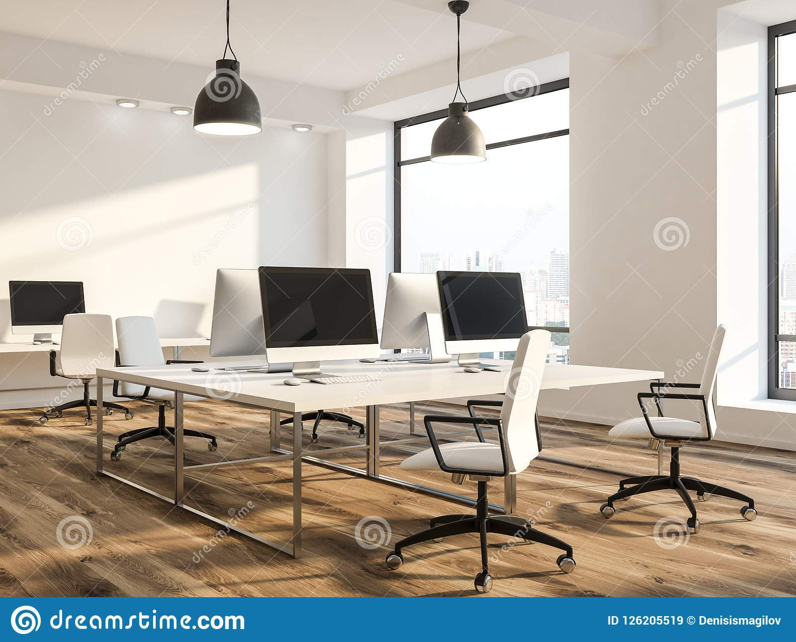 Modern Workplace Or Computer Lab, White Stock Illustration ...