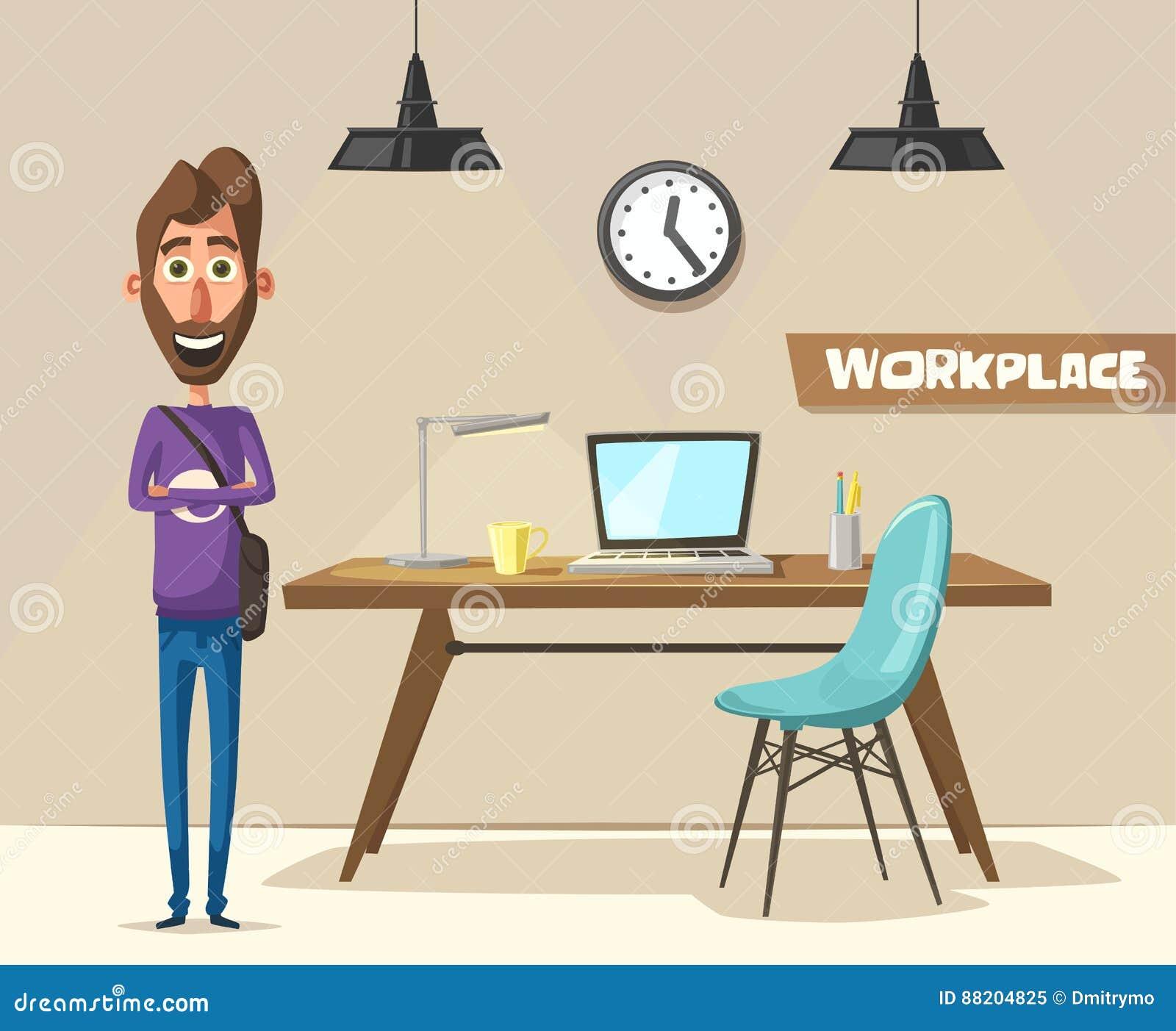 Cartoon Character Design Website : Modern workplace creative character office work cartoon
